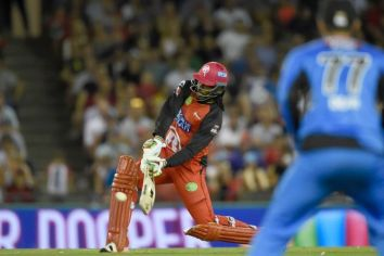 Chris Gayle's 12-ball rampage included 7 sixes (Photo credit: AAP/Mal Fairclough)