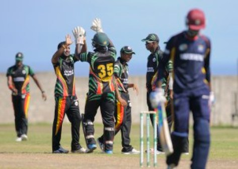 """The Jaguars are in high spirits and will want to continue their winning ways during the Group """"B"""" match between Guyana Jaguars and mbined Campuses & Colleges Marooners in the NAGICO Super50 Tournament on Monday, January 11, 2016 at St. Paul's Sports Complex.  Photo by WICB Media/Randy Brooks of Brooks Latouche Photography"""