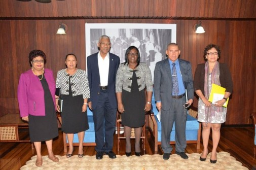 - From L-R- Minister of Social Cohesion, Ms. Amna Ally, Minister within the Ministry of Communities, Ms. Dawn Hastings, President David Granger, Minister within the Ministry of Health, Dr. Karen Cummings, Health Minister, Dr. George Norton and Minister within the Ministry of Indigenous Peoples Affairs, Ms. Valerie Garrido-Lowe at the meeting