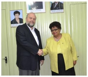 US Ambassador to Guyana, Mr. Perry Holloway, and Minister of Social Cohesion, Ms. Amna Ally, at their first official meeting, this morning, at the Ministry of the Presidency.