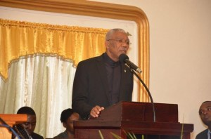 President David Granger delivers his address at the opening ceremony of the Seventh-Day Adventist Church's Convention