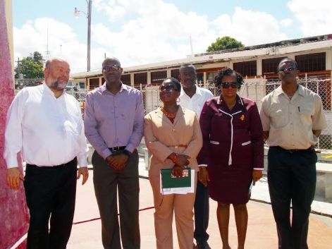 Minister of Public Infrastructure, David Patterson (second left) and Minister within the Ministry,  Annette Ferguson (second right); with United States Ambassador to Guyana, Perry Holloway (first left) following the tour of the Georgetown Lighthouse. Officials from MARAD, including Director General Claudette Rogers (third left) were also present