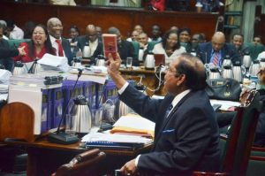Prime Minister Moses Nagamootoo in the National Assembly last evening