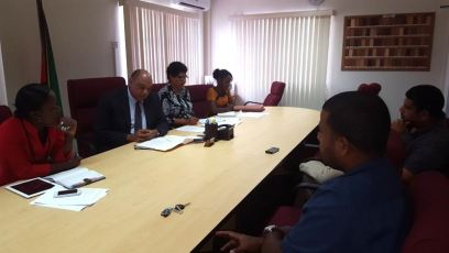 Minister of Natural Resources, Mr. Raphael Trotman and some members of the Tax Concession Review Committee, during a meeting with two of the miners on Thursday