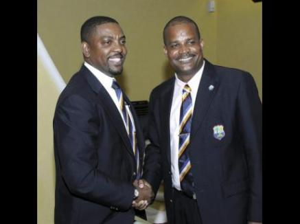 WICB president Dave Cameron (left) and vice-president Emmanuel Nanthan