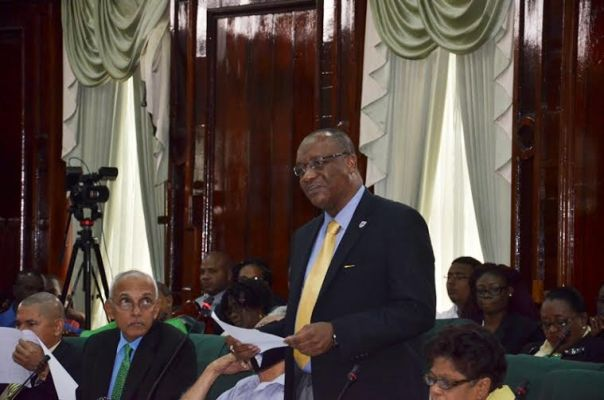 Minister of State Joe Harmon addressing the National Assembly earlier this afternoon