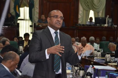 Opposition Leader Dr Bharrat Jagdeo commanding the attention of the National Assembly earlier this afternoon