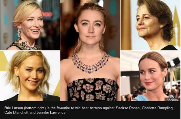 Brie Larson (bottom right) is the favourite to win best actress against Saoirse Ronan, Charlotte Rampling, Cate Blanchett and Jennifer Lawrence