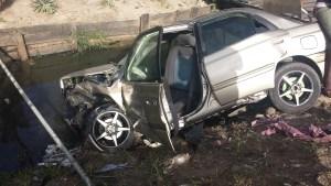 The badly damaged car (Guyana Times photo)