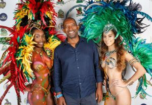 West Indies Coach Phil Simmons at yesterday's gala CPL players draft in Barbados