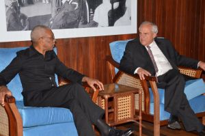 President David Granger and UNASUR Secretary General Ernesto Samper during their meeting on Thursday at the Ministry of the Presidency