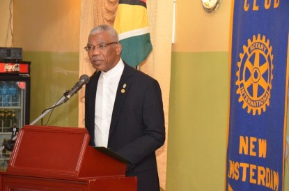 President David Granger addresses the gathering at the Rotary Club of New Amsterdam's World Understanding and Peace Dinner, held in Berbice Saturday evening