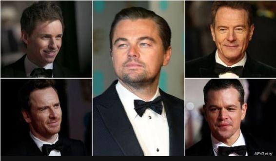 Leonardo DiCaprio (centre) is up against Eddie Redmayne, Michael Fassbender, Bryan Cranston and Matt Damon for best actor