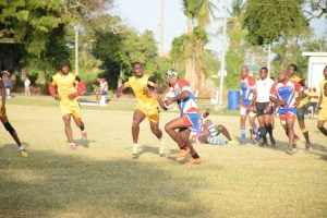 Action between Pepsi Hornets (red, white and blue) and the Yamaha Caribs last weekend