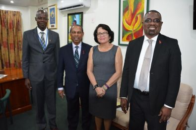 First Lady, Mrs Sandra Granger, is flanked by, from left, Dr. Martin Oudiit, UNAIDS Country Director and Dr. Edward Greene, UN Secretary-General Special Envoy for HIV in the Caribbean and Mr. Dereck Springer, Director PANCAP Coordinating Unit (right) following their meeting, today, at the Office of the First Lady.