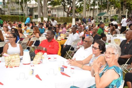 In very good company: President David Granger and First Lady, Mrs. Sandra Granger (third and second from right) enjoy the fashion show along with General Secretary of the Guyana Red Cross Society, Ms. Dorothy Fraser (first, right), Chairman (Ag) of the Society, Mr. Teni Housty (second from left) and another guest.