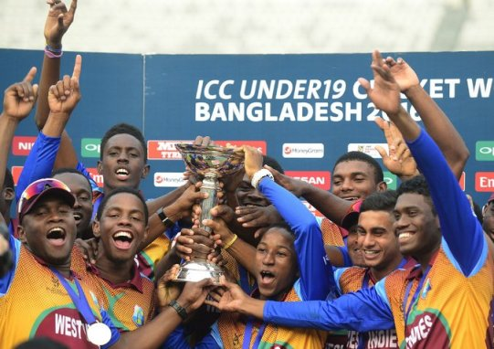 West Indies players with the trophy after they beat India to win the Under-19 Cricket World Cup earlier this month. Credit Munir Uz Zaman/Agence France-Presse — Getty Images