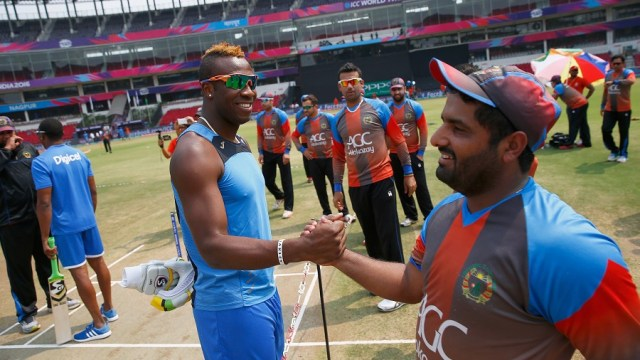 during the ICC World Twenty20 India 2016 Group 1 match between Afghanistan and West Indies at the Vidarbha Cricket Association Stadium on March 27, 2016 in Nagpur, India.