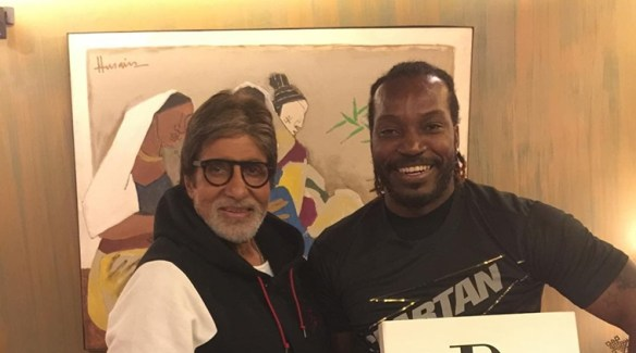 Amitabh Bachchan hosted West Indies batsman Chris Gayle with India set to face the Caribbean team in the semi-finals of ICC World T20 on Thursday. (Source: Instagram)