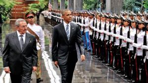 Mr Castro and Mr Obama were congenial but had some disagreements about human rights (AFP/BBC photo)