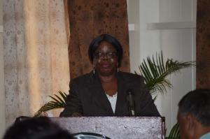 Commissioner-General (ag), Guyana Revenue Authority (GRA) Ingrid Griffith, addressing the workshop's participants