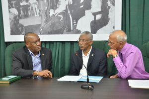 President David Granger, Minister of State, Joseph Harmon and Minister of Communities, Ronald Bulkan at the press conference moments ago.
