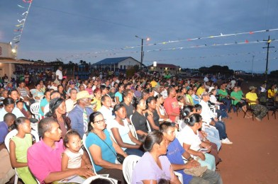 A section of the crowd gathered at a public meeting in Lethem, where President Granger plugged the importance of local government in economic development