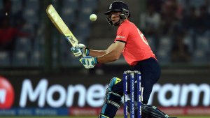 Jos Buttler blitzed an unbeaten 37-ball 66 to propel England to 171 for 4 against Sri Lanka in their crucial World T20 game in Delhi © AFP