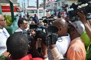 Public Security Minister Khemraj Ramjattan speaks to the Media this morning (Carl Croker photo)