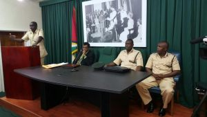 Public Security Minister Khemraj Ramjattan and senior Prison officials at this afternoon's news conference