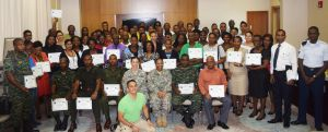 Representatives from the Florida Army National Guard along with the participants of the Suicide Prevention Workshop