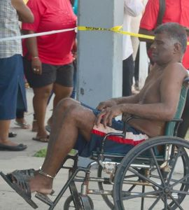 An injured prisoner at the GPHC today
