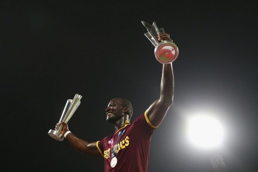 Darren Sammy, Captain of the West Indies celebrates victory during the ICC World Twenty20 India 2016 Final match between England and West Indies at Eden Gardens on April 3, 2016 in Kolkata, India. Ryan Pierse / Getty Images