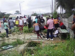 A scene from yesterday's accident on the East Bank of Demerara