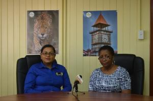 Guyexpo 2016 Coordinator Temeca Sukhdeo-Singh (left) and Dawn Holder-Alert, Director of Competition and Consumer Affairs Commission