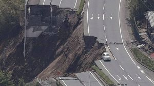 Damage has been extensive - this road collapse was in Minami-Aso (Photo: AFP)