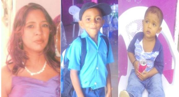 MURDERED: Jennifer Persaud, 41, who was the owner of a liquor store and bar at Anna Catherina; and her sons Afridi Bacchus, 6, and Jadon Persaud who was 18 months old at the time