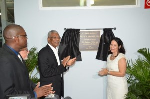 President David Granger unveiled the plaque to officially rename the Ogle Airport, Eugene F. Correia International Airport