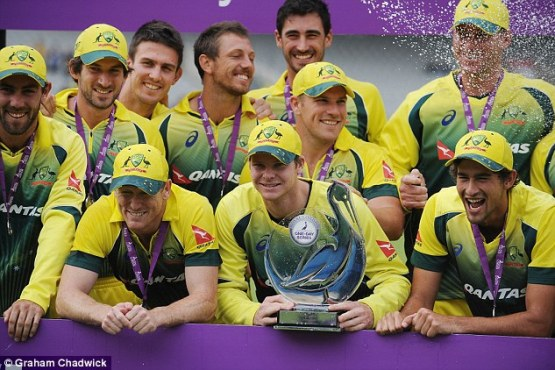 Australia captain Steve Smith (centre) and his squad have been warned of the dangers of the Zika virus