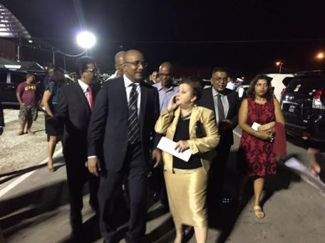 Opposition Leader Dr Bharrat Jagdeo and other PPP/C MPs leaving tonight's flag raising ceremony which is still ongoing