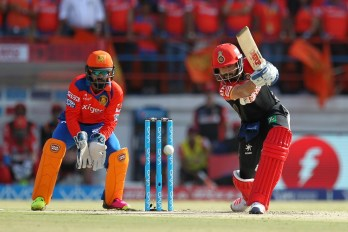 Virat Kohli captain of Royal Challengers Bangalore in action during match 19 of the Vivo IPL 2016 ( Indian Premier League ) between the Gujarat Lions and the Royal Challengers Bangalore held at Saurashtra Cricket Association Stadium, Rajkot, India on the 24th April 2016Photo by Prashant Bhoot  / IPL/ SPORTZPICS