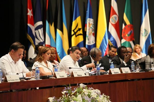 President David Granger flanked by other Heads of Government and State of the Association of Caribbean States at a recent Summit held in Havana Cuba