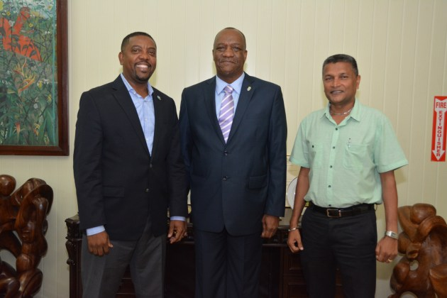 President of the West Indies Cricket Board (WICB), Mr. Dave Cameron (left) on Wednesday paid a courtesy call on Minister of State, Mr. Joseph Harmon at the Ministry of the Presidency. Mr. Cameron was accompanied by Secretary of the Guyana Cricket Board and Director of the WICB, Mr. Anand Sanasie (right).