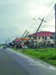 The affected power poles along the Diamond Housing Scheme main road