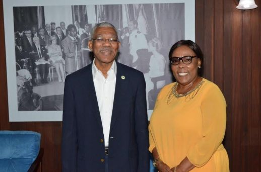 President David Granger makes a point to Ms. Esther Griffith during their meeting yesterday. Ms. Griffith, who will depart Guyana today, will now serve as Guyana's Consul General in Nickerie, Suriname.