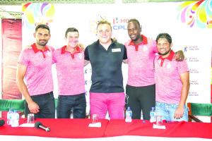 Hamza Tariq, Simon Helmot, Damien O'Donohoe, Kevon Cooper and Ramnaresh Sarwan at the launch of the Hero Caribbean Premier League in Harvard Sports Club, St. Clair, Port of Spain, Trinidad & Tobago on Sunday. (Photo by Aldwyn Sin Pang)