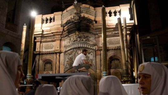 The last restoration work on Jesus's tomb was in 1801 after a fire (AP photo)