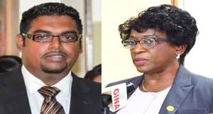 Former Housing Minister Irfaan Ali and CEO of the Central Housing and Planning Authority Myrna Pitt who has resigned for her post