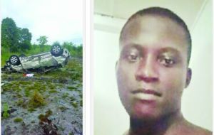 Inshaan Caines and the car he was driving when he met his demise yesterday