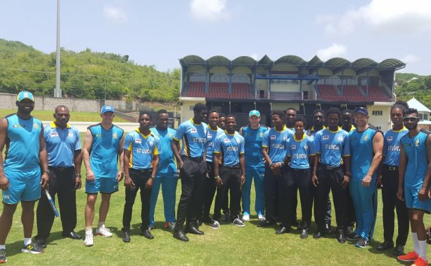 Members of the St Lucia Zouks and the St Lucia Under-19 cricket teams (CPL photo)